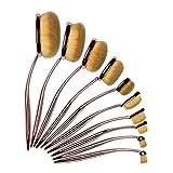 lospu HY–profesional 10pcs suave oval cepillo de dientes de maquillaje. Fundación Pinceles crema contorno, polvos y colorete corrector cepillo maquillaje cosméticos herramienta Set