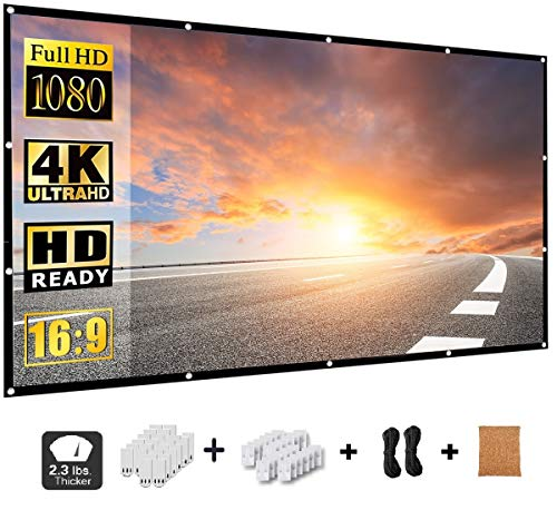 Projector Screen 100 Inch,Portable Movie Screen for Outdoor and Indoor,REESOUL,16:9 HD 3D 4k,Foldable,Anti-Crease,1.1 GAIN, 160°Viewing Cone,Support Double Sided Projection,with a Cork Bag