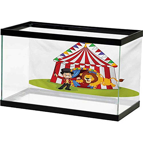 bybyhome Underwater Poster Circus,Cartoon Lion Jumping Through The Ring with Circus Tent Celebration Performance Show,Multicolor Photography Background