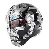 PURROMM Casco Moto modulare Flip-DOT Casco Adulto Fuoristrada Certificato Urban Race da Corsa novità Antipolvere Fresco Casco Protettivo ATV BMX per Motocicletta,Gray,M