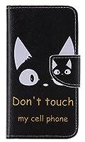iPhoneSE 5s 5 ケース iPhoneSE 5s 5 カバー スマホケース 手帳型 ケース デザイン手帳 アイフォンSE 5S 5 ケース 猫 ストラップホール付き スタンド機能付き スマホカバー マグネット付き 汚れにくい シンプル カード収納 TPU 耐衝撃 男子 レディース用 黒 (iphoneSE/5S/5, 猫の耳)