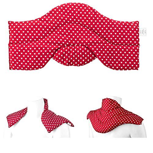 Aminata BALANCE Rapssamenkissen Schulter-Nacken-Kissen Wärmekissen mit Raps-Samen für Mikrowelle geeignet für Wärme- & Kälte-Anwendung, Nackenhörnchen Herzen mit Stehkragen für den perfekten Sitz