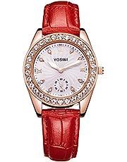 YOSIMI レディース 腕時計 スモールセコンド レッド レザー アナログ ウオッチ クオーツ 時計 女性 ピンクゴールド