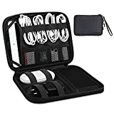 JESWO Cable Organiser Bag, Electronics Accessories Travel Bag with Double Zipper, Portable Cable Tidy Bag for Cables, SD Card, Charger, iPad Mini(Up to 7.9'') - Grey