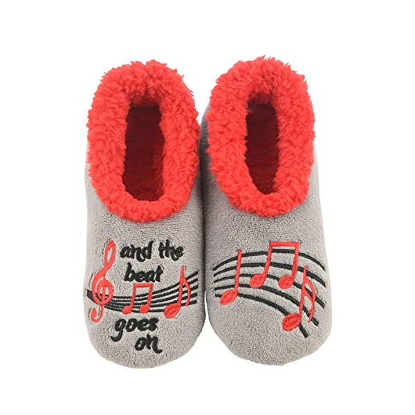 Snoozies Womens Slippers – Womens House Slipper Socks – Musical Notes Pairables