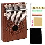 Piano portátil de madera de sapele Kalimba con 17 llaves, piano de dedo africano Mbira Sanza Likembe con instrucciones de estudio (Ingles) regalo musical para Navidad cumpleaños