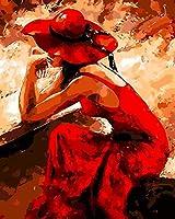 番号によるDiyデジタル絵画絵画アクリル絵の具手作りの絵画番号による着色赤い女の子家の装飾