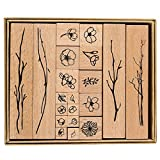 Legno Timbro Set in Gomma, 20 Pezzi di Timbri Decorativi in Legno con Piante e Fiori per Artigianato Fai-da-te, Diario di Lettere e Scrapbooking Artigianale