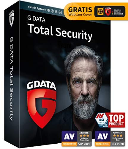 G DATA Total Security 2020/2021, 1 Gerät - 1 Jahr, DVD-ROM inkl. Webcam-Cover, Virenschutz Windows, Mac, Android, iOS, Made in Germany - zukünftige Updates inklusive