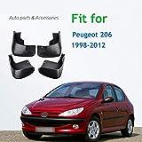 HZHAOWEI 4 Piezas de Aletas de Barro del Guardabarros del Coche Aletas de Barro traseras Delanteras Protectores contra Salpicaduras de Barro, para Peugeot 206 1998-2012