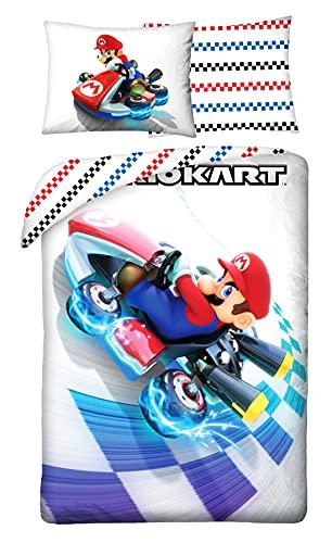 Halantex Juego de Cama Diseño de Super Mario Funda Nórdica 140 x 200cm + Funda de Almohada 70 x 90cm Algodón