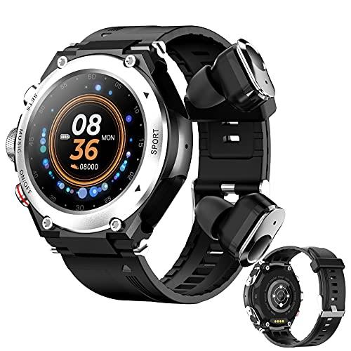 Smartwatch 2 en 1 Auricular inalámbrico + Reloj inteligente de música local, Admite grabación de una tecla y llamada Bluetooth, Fitness Tracker con Monitor de Temperatura Frecuencia Cardíaca,Plata