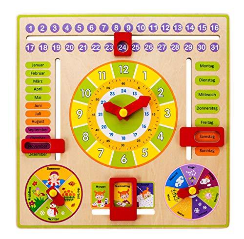 W Kalenderuhr aus Holz | 305 x 305 x 35 mm | spielerisch die Zeit Lernen | hochwertig verarbeitet | farbenfrohe Gestaltung