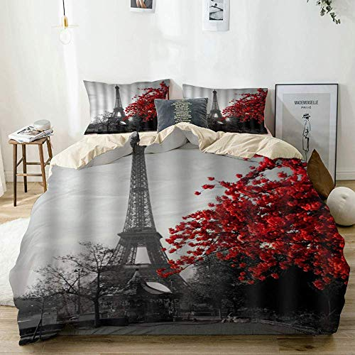 Jnsio Duvet Cover Maple Leaves in Front of The Paris Eiffel Tower,100% Washed Microfiber 3pcs Bedding Set with 2 Pillow Shams,Reversible Beige C108