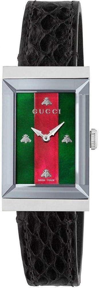 Gucci, orologio da donna ,cassa in acciaio inossidabile e cinturino in pelle di pitone YA147403