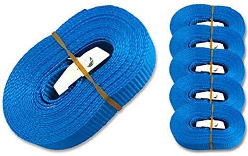 iapyx 6 Spanngurte Zurrgurte 250kg 2.5m 4m 5m 6m mit Klemmschloss Schnellspannung (2.5m, blau)
