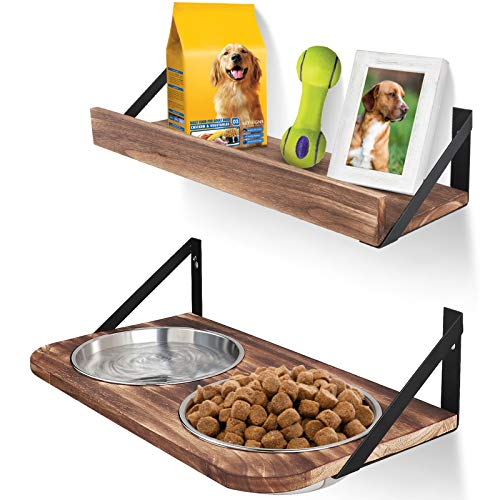 Emfogo Dog Bowls Customized Height Wall Mounted Elevated Pet Feeder with 2 Stainless Steel Dog or Cat Dishes and Storage Shelf Rustic Wood Raised Pet Bowls 15.7 in L Carbonized Black