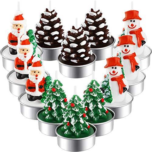 12 Stücke Weihnachten Teelicht Kerzen Handgemachte Zarte Weihnachtsmänner Schneemann Eichel Baum Kerzen für Weihnachten Haus Dekoration Geschenke (Stil H)