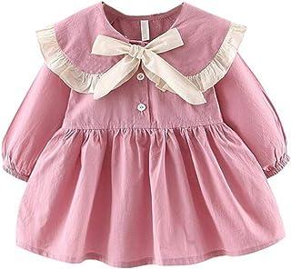 ALLAIBB Girls Spring&Autumn Long Sleeve Dress Lacing Collar Girls Cotton Princess Dress