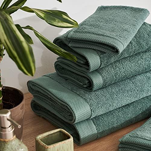 LA MALLORQUINA Toalla algodón Peinado - Basic LM Verde (Toalla Lavabo - 50x100cm - Verde) | Toallas...