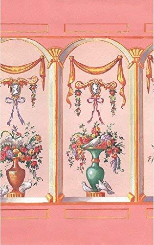 Melody Jane Puppenhaus Französisch Bouquet Rouge Miniatur Druck Tapete 3