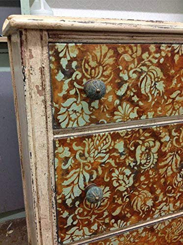 Small Brocade Floral Furniture Stencil for Painting Flower Designs on Dresser Drawers or Cabinets