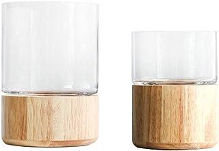 Flower Vases for Living Room Decoration Vintage Solid Wood Base Rounded Flora Vase for Hydroponics Plants Desktop Glass Pl...