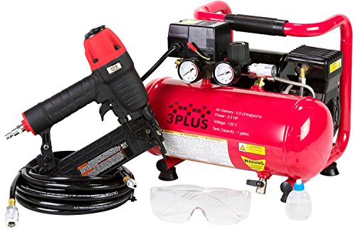 3PLUS HCB050401 18-Gauge Brad Nailer and Quiet Air Compressor Combo kit. Buy it now for 139.88