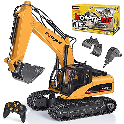 Remote Control Excavator Toy 1/14 Scale RC Excavator Full Functional Construction Vehicles Rechargeable RC Truck with Metal Shovel and Lights Sounds for 6-18 Years Old Boys Girls (Yellow)