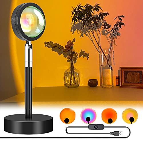 Proyección de Sunset, lámpara de pie de larga duración con USB, 90 grados de rotación, luz de ambiente romántica, luz roja, luz nocturna