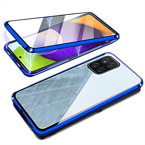 Funda para Samsung A12, magnética, de cristal templado, transparente, con cámara protectora y...