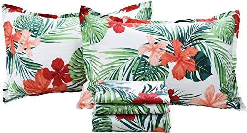 FADFAY Green Floral Sheets Queen Size 100% Cotton Floral Bed Sheet Ultra Soft Anti-Fade Tropical Bedding Banana Palm Leaves Top Sheet Hawaiian Deep Pocket Fitted Sheet 4-Pieces