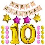 KUNGYO Dulce Fiesta de Cumpleaños Kit Decoraciones Happy Birthday Bandera Rosada Número 10 Mylar Foil Globo Cumpleaños de 10 Años