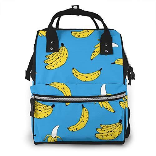 Pretty Diaper Bag Backpack for Women & Men, Waterproof Baby Nursing Rucksack with Stroller Straps, Best Fruit Banana Print Art Daily Daypack