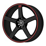 Motegi Racing MR116 Matte Black Wheel With Red Racing Stripe (15x6.5'/4x100, 108mm, +40mm offset)