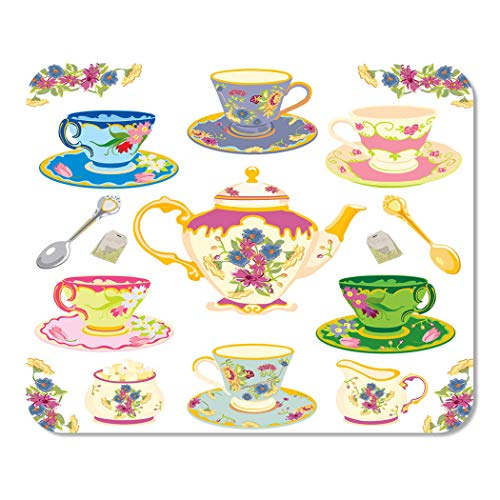 Llsty Mouse Pad for Home and Office Selection Fancy Victorian Teacups White- 9.7x7.9 Non-Slip Rubber Thickness for Computer Desktop Pcs Laptop