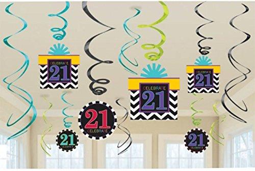 12 Décorations de fête 21e anniversaire
