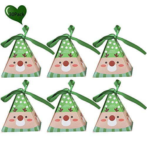 JYCRA Geschenkboxen, Set mit 30 dekorativen Leckereien, Kuchen, Kekse, Süßigkeiten, Geschenkverpackungen für Weihnachten, Geburtstage, Urlaub, Hochzeit 8x8x9CM rentier