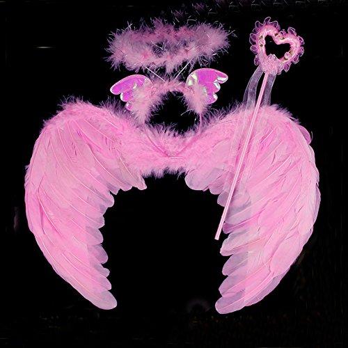 Huplue enfants Angle Ailes et bandeau, Magic Stick Habillez Perles pour Blanc Ailes en plumes de fête, Photographie, Cosplay Halloween fête de Noël Costumes L(50x40cm) rose