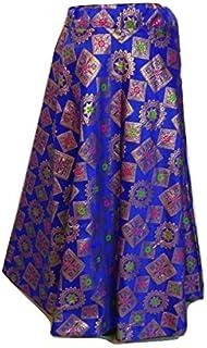 SNEH Women's Brocade Silk Floral Print Skirt (Blue,Free Size)