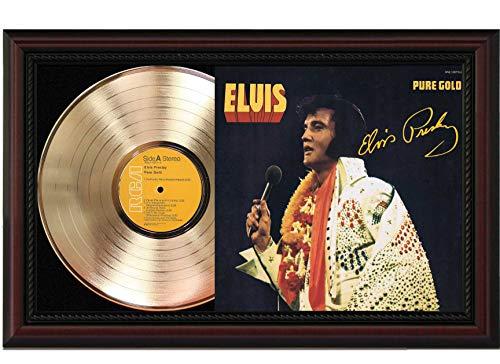 Elvis Presley Pure Gold Cherrywood Framed LP Record Signature Display M4