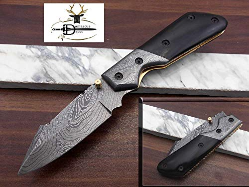 Hand Forged Damascus Steel Folding Knife with Bull Horn Scale. Cow Hide Leather Sheath Included