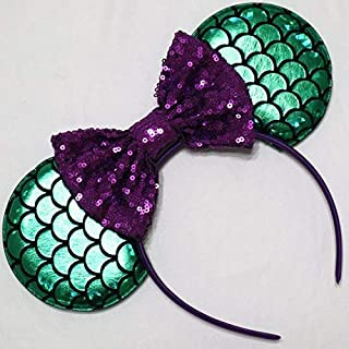 CL GIFT Ariel Mickey Ears, Ariel Ears, Littler Mermaid Ears, Little Mermaid Mickey Ears, Purple Minnie Ears