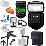 Canon Speedlite 430EX III-RT Flash with Canon Speedlite Case + TTL Cord + Flash L-Bracket Grip + Flexible Steady Pod + 4 High Capacity AA Rechargeable Batteries & Charger + Accessory Bundle
