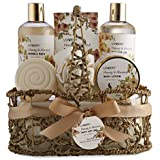 Home Spa Gift Basket - Honey & Almond Scent - Luxury Bath & Body Set For Women and Men - Contains Shower Gel, Bubble Bath, Body Lotion, Bath Salt, Bath Bomb, Puff & Handmade Weaved Basket