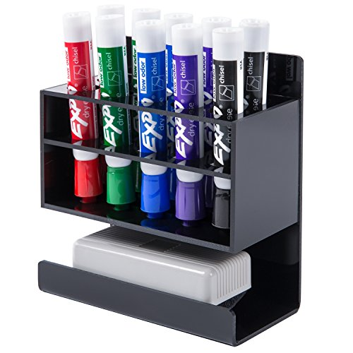 MyGift Wall-Mounted 2-Tier Black Acrylic 10-Slot Dry Erase Whiteboard Marker and Eraser Holder Stand