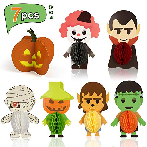 Halloween Vampire Sets Honeycomb Centerpieces 7 PCS 3D Table Topper Decorations Supplies for Birthday Party Halloween Themed Party