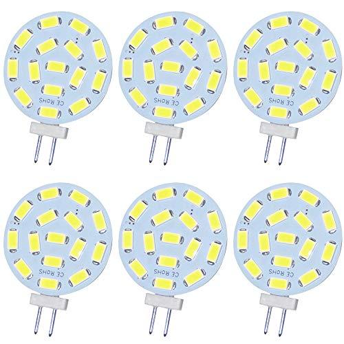 Jenyolon G4 LED weiß Lampen 2.2W AC/DC 12V, 6000K, 300Lm, Ersatz für 20W Halogenlampen Glühlampen, LED G4 klein Stiftsockellampe Leuchtmittel Birne Licht, 120°Abstrahlwinkel, 6er Pack