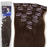 20''7pcs Fashional Clips in Remy Human Hair Extensions 24 Colors for Women Beauty Hot Sale (#04-Medium Brown) by lilu
