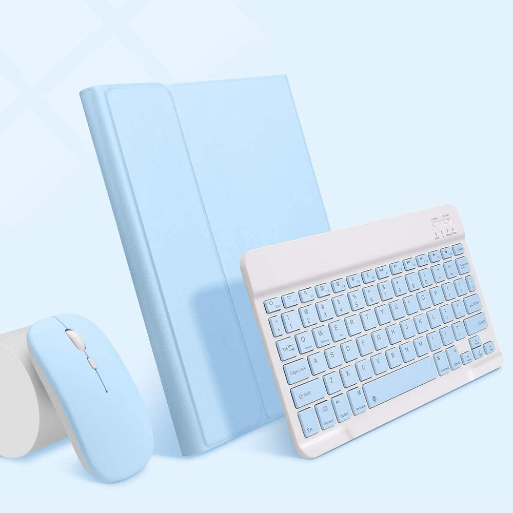 iPad air 4 Keyboard Case with Mouse,Backlits Detachable Slim Keyboard,Flip Folio Smart Cover with Keyboard for Women (iPad air 4 (10.9 inch), Sky Blue)